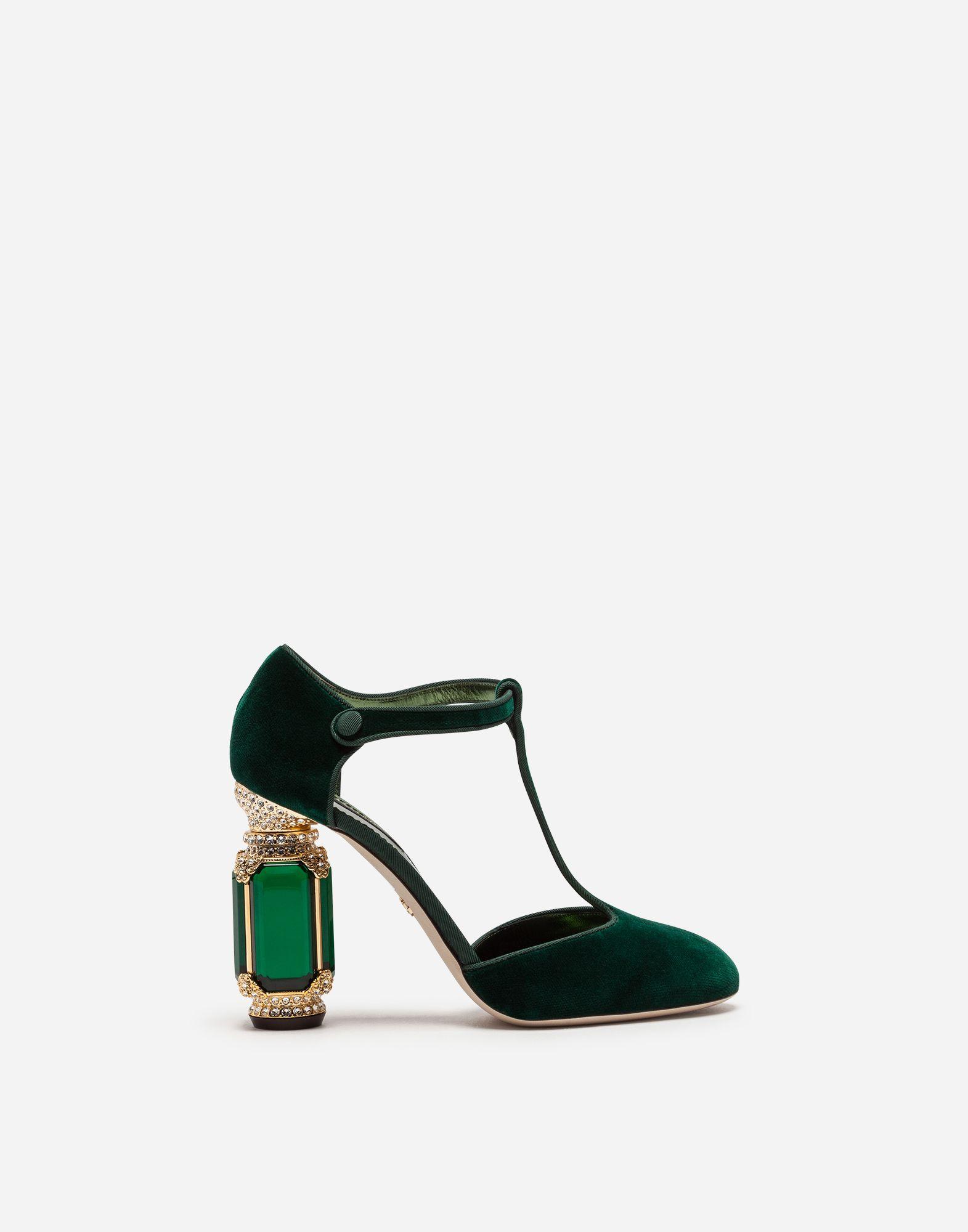 c31b51a12078 Dolce   Gabbana VELVET T-STRAPS WITH JEWEL HEEL