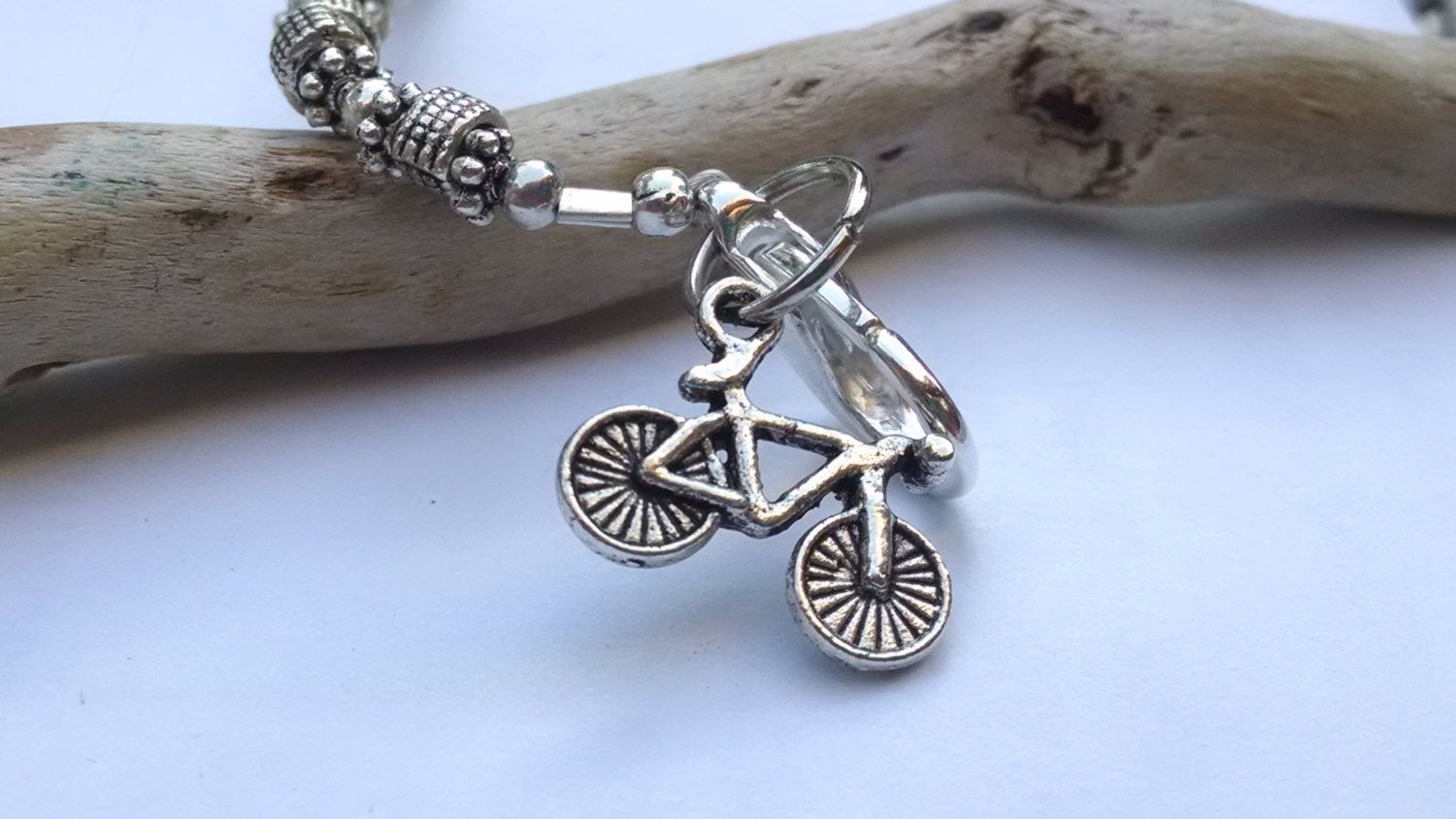Silver Bicycle Charm Bracelet Bike Jewelry Road Holiday Gift Idea
