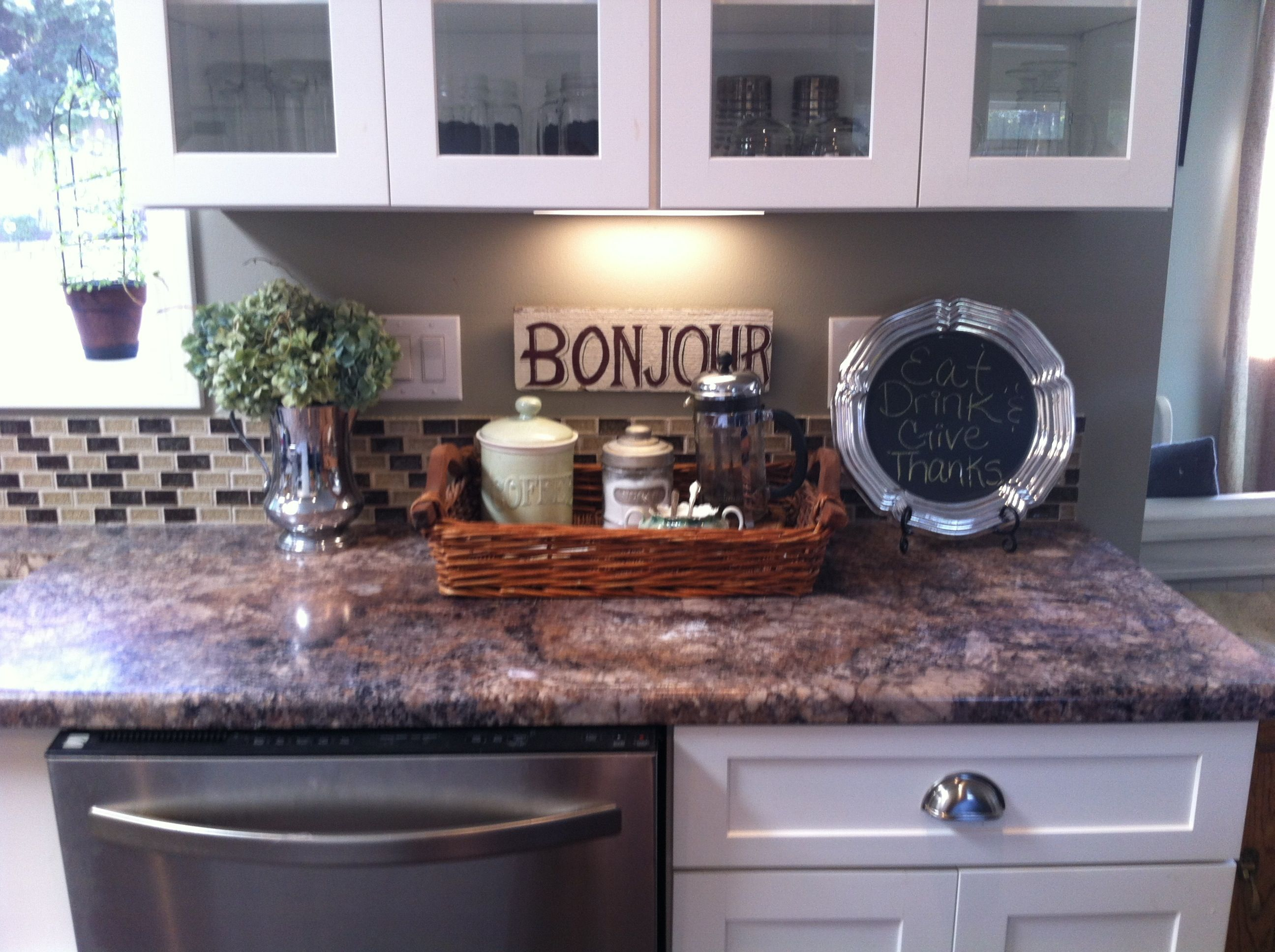 how to decorate your kitchen small storage cabinet counter decor a pretty home is happy