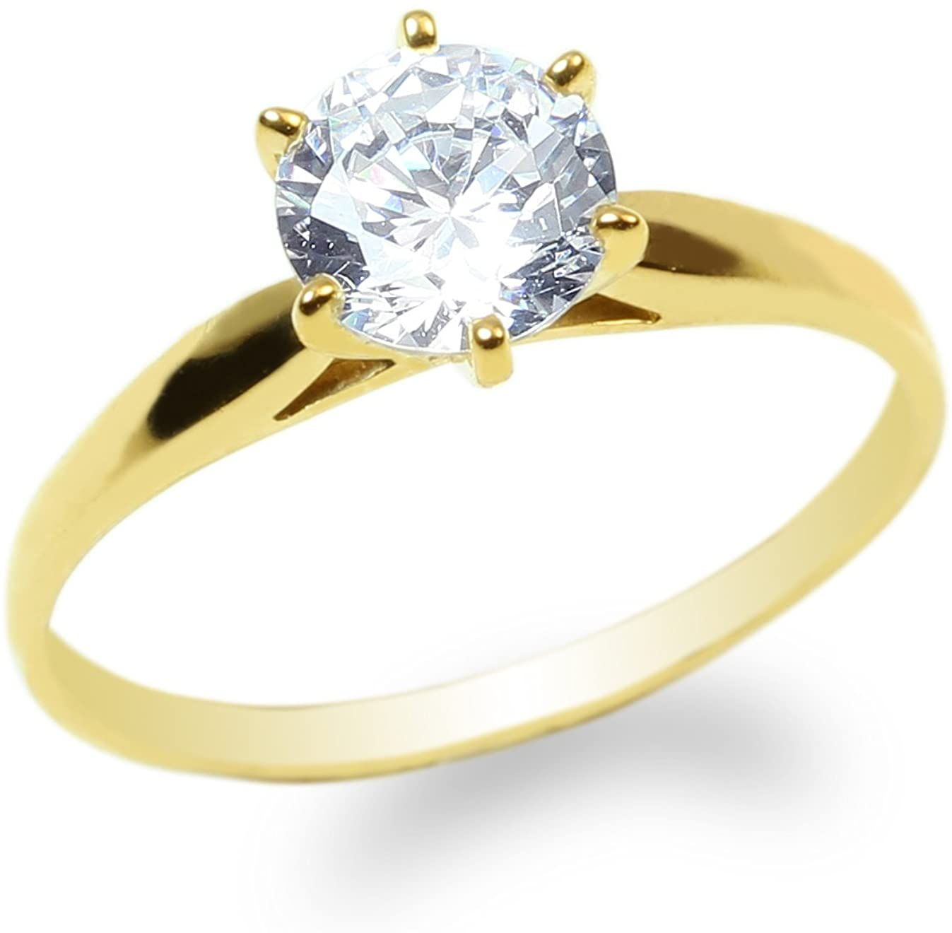 Jamesjenny Ladies 10k Yellow Gold 0 9ct Round Cz Engagement Solitaire Ring Size 4 8 You Can Find More D In 2020 Perfect Engagement Ring Engagement Rings Ring Designs