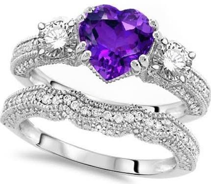 Purple Heart Wedding Engagement Ring Set This Is What I Want