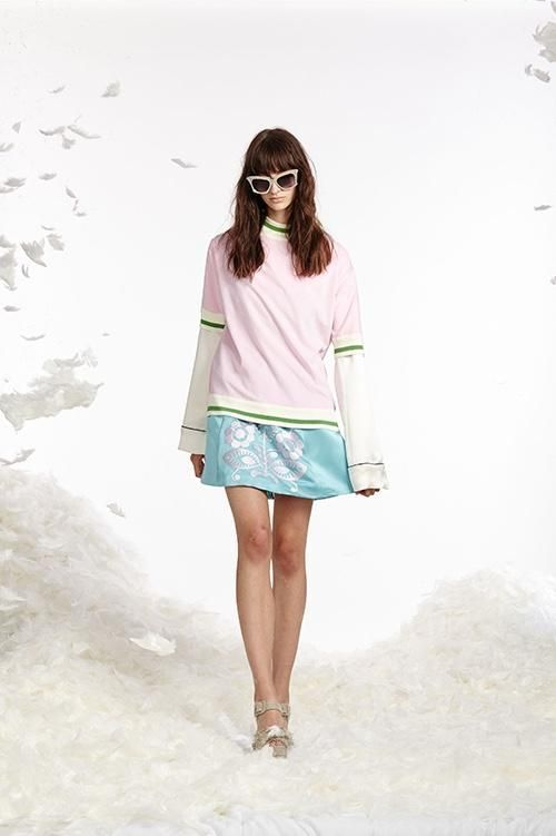 Cynthia Rowley Spring 2017 look 16 featuring an ice blue duchess satin mini skirt with white embroidery worn with a white silk pajama top and light pink and green striped terry cloth t-shirt #duchesssatin Cynthia Rowley Spring 2017 look 16 featuring an ice blue duchess satin mini skirt with white embroidery worn with a white silk pajama top and light pink and green striped terry cloth t-shirt #duchesssatin Cynthia Rowley Spring 2017 look 16 featuring an ice blue duchess satin mini skirt with whi #duchesssatin