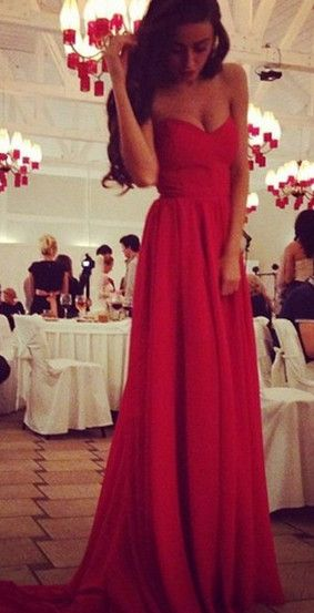 $129- Do you like this long chiffon red prom dress?  www.27dress.com  #partydress #prom #longdress