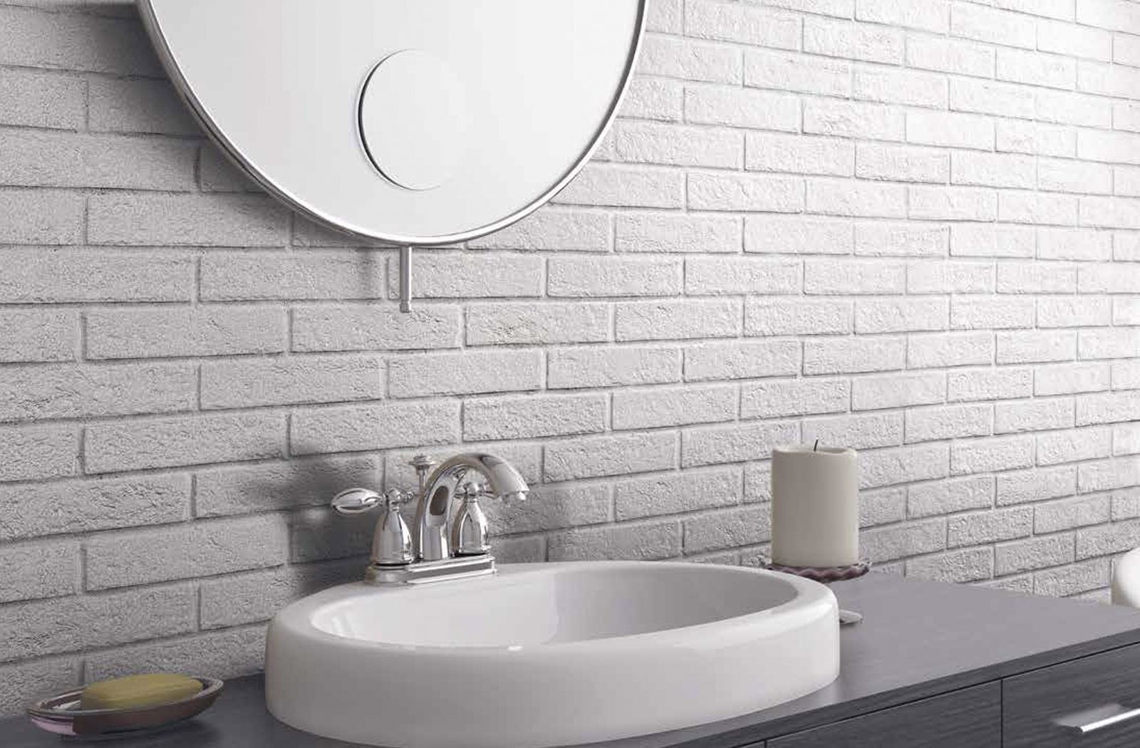 Modern grey bathroom with Brick Generation wall tile from Ceramica ...