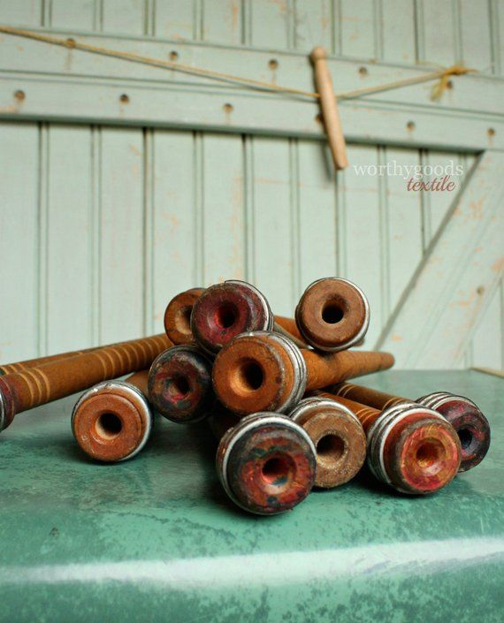 Sale Today 12 Wood Spools Antique Industrial Wooden Textile