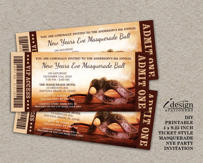 New Years Eve Masquerade Party Invitation Printable Ticket Style - ticket invitation