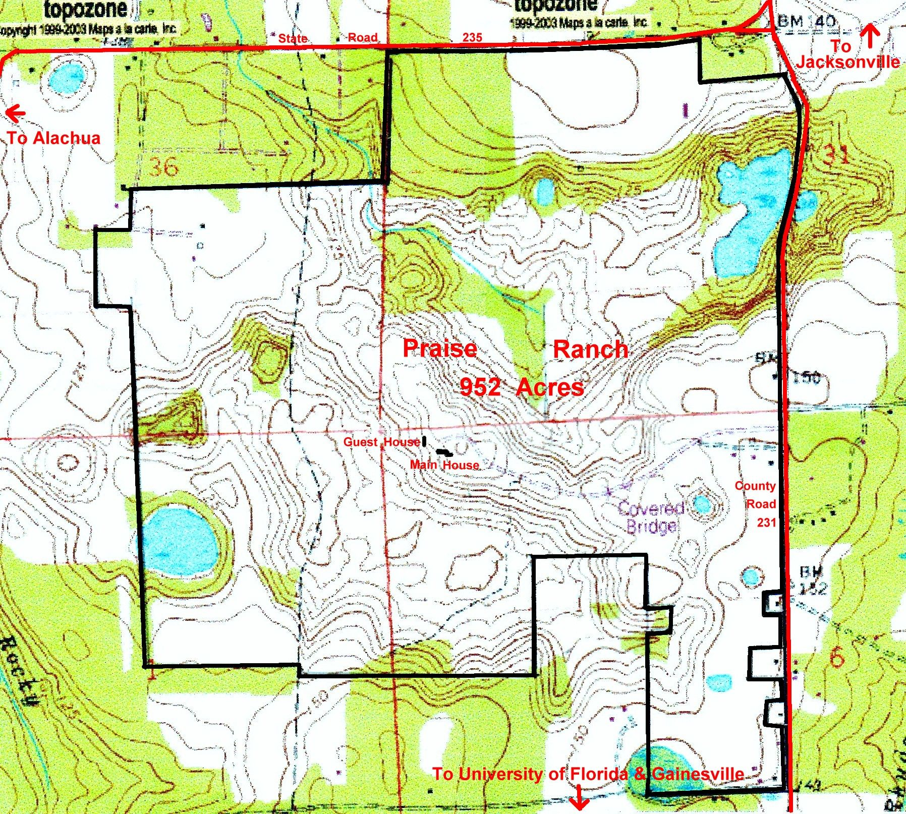 Praise Ranch Topographical Map. 953 acres For Sale near #Gainesville ...