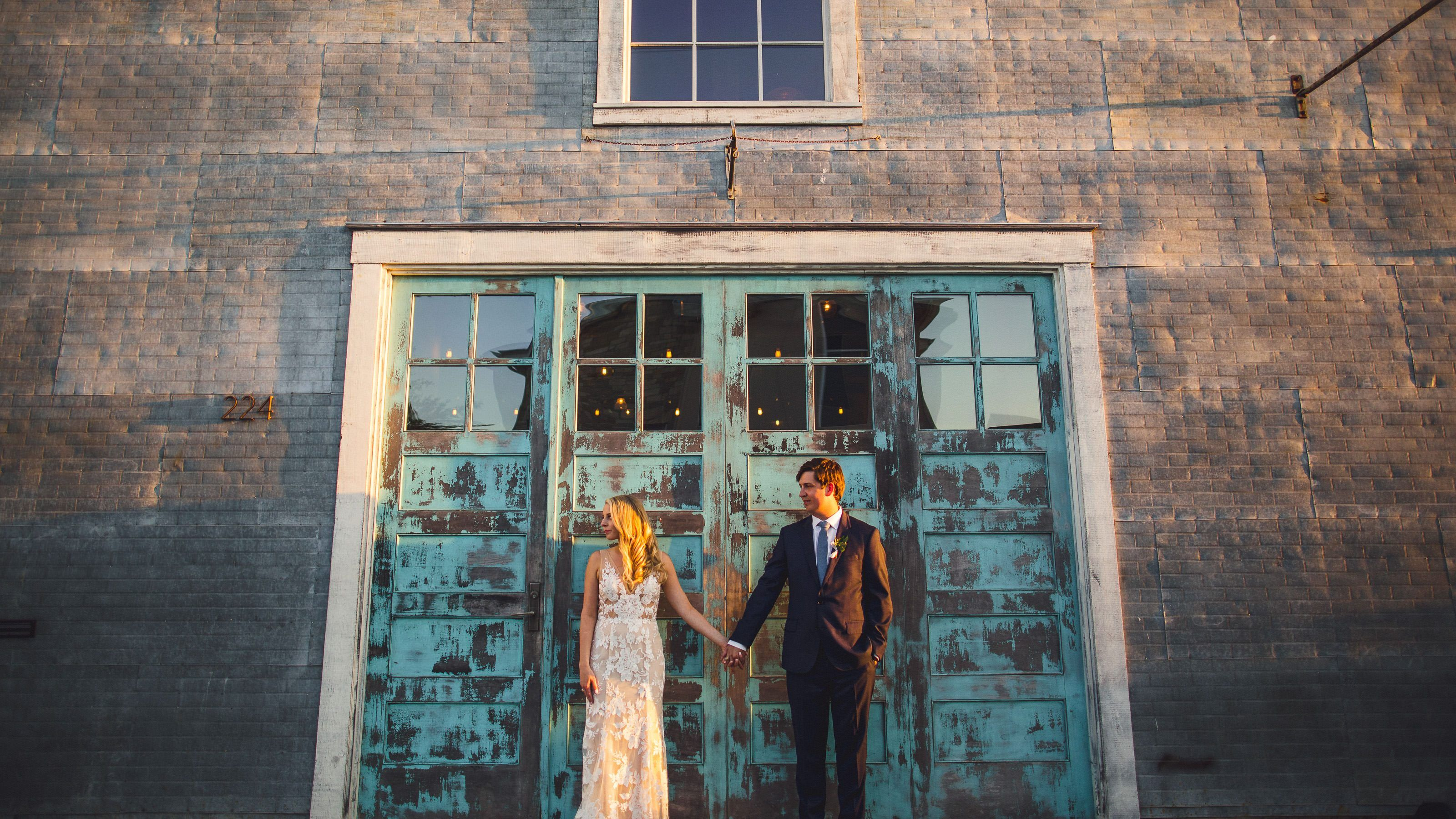 This Blue Door Is The Perfect Backdrop For Wedding Portraits The