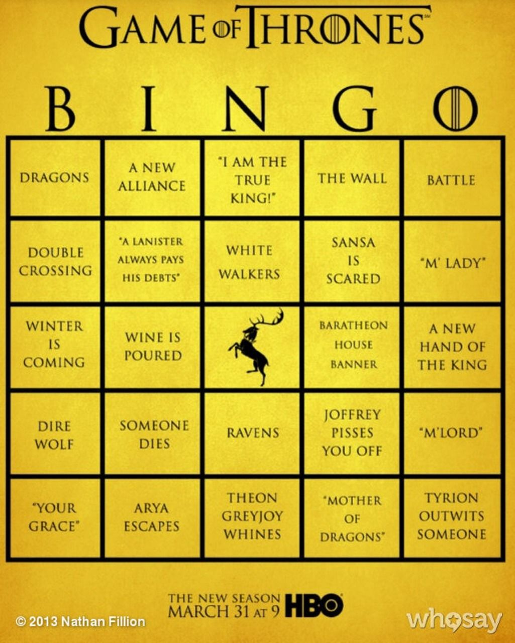 Game of Thrones BINGO. But can we just talk about the