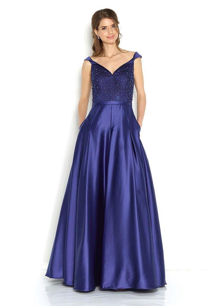 b1dcc41b6eb6 Společenské modré šaty se zdobeným živůtkem Jora Damaris in 2019 ...