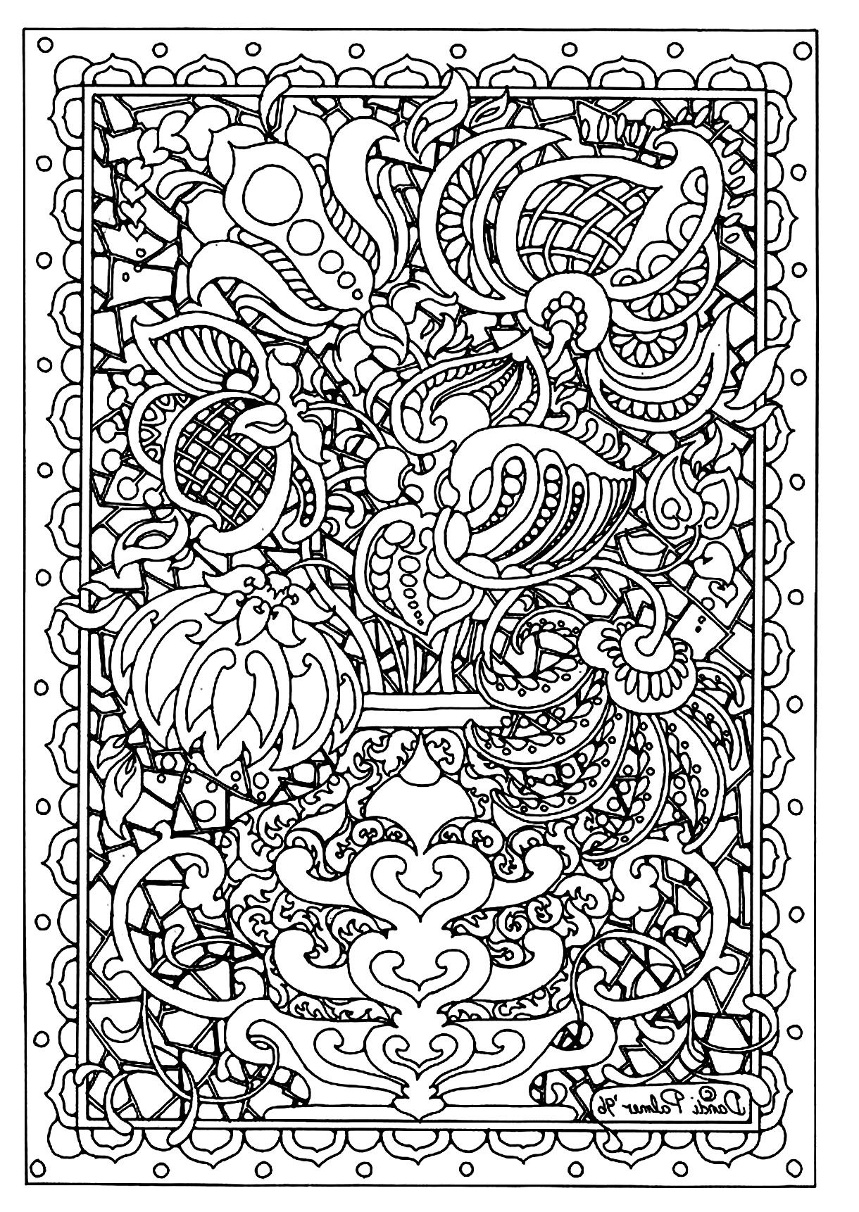Flower Difficult Flowers Vegetation Coloring Pages For Adults