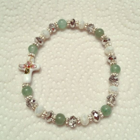 Jade cross Cloisonné cross, genuine jade with Austria white and silver crystal. Lesann Jewelry