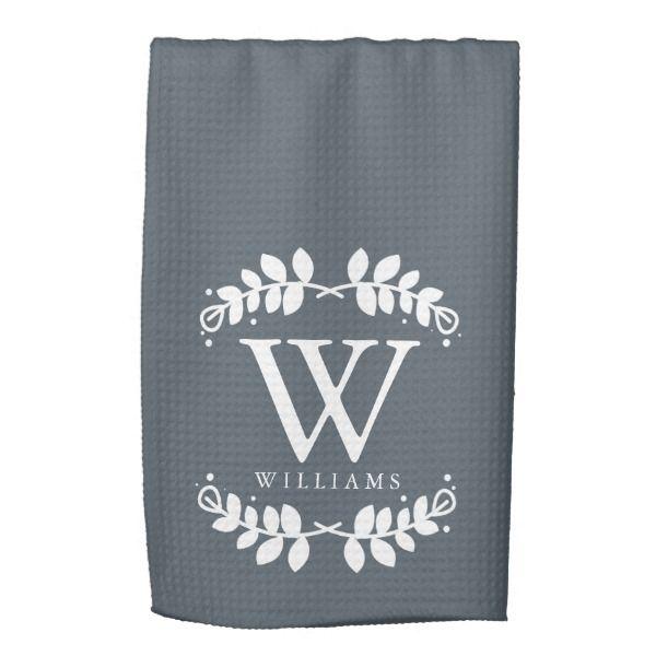 elegant slate gray family monogram kitchen towel | zazzle