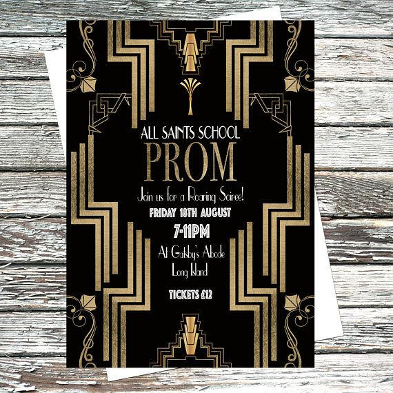 personalised great gatsby party invitation poster printable 1920s invites prom event - Gatsby Party Invitation