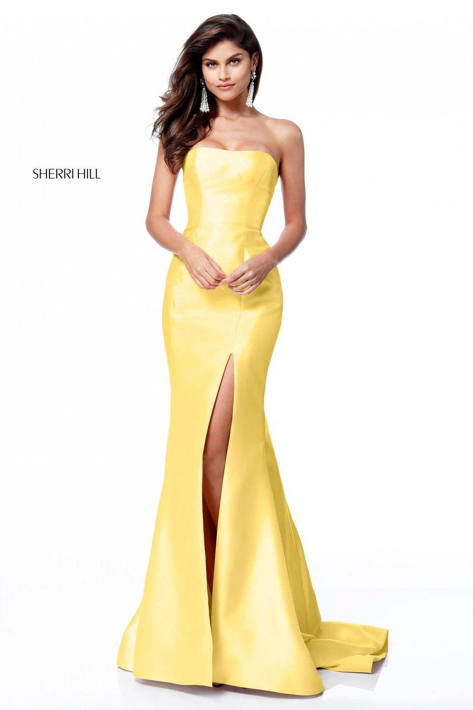 Sherri hill strapless high slit formal dress in fashion