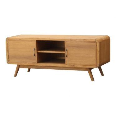 mobilier scandinave de salon avec rangement, bois massif teck - Meuble Tv Avec Rangement