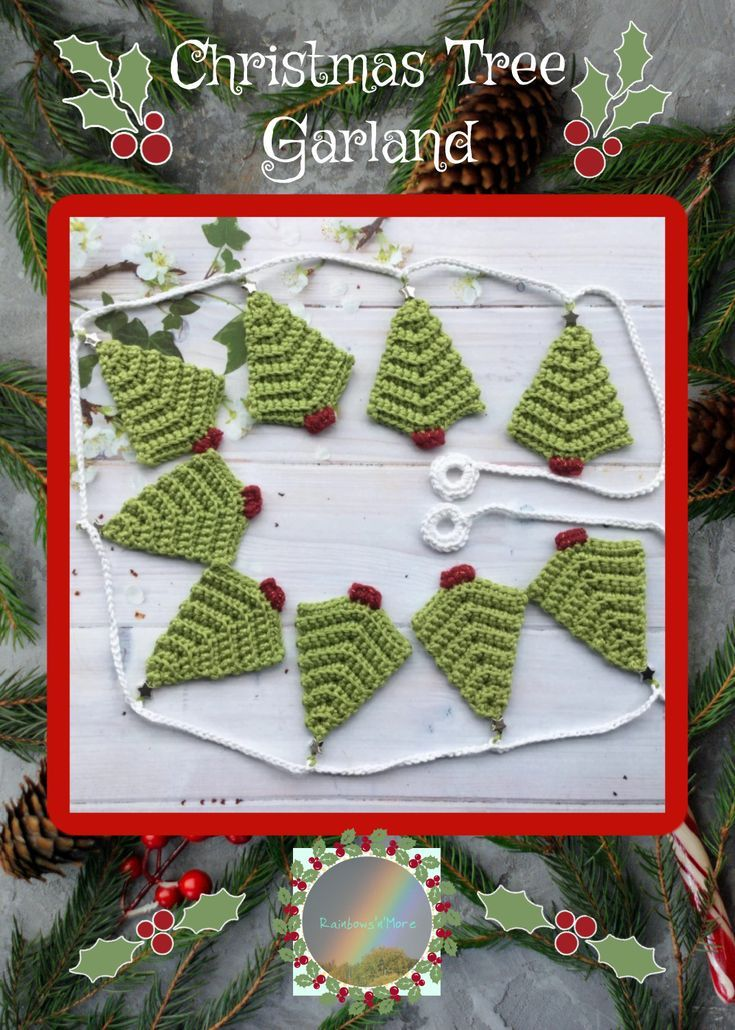 Hand Made Crochet Christmas Tree Garland by @gillieflower Rainbowsnmore on @britishcrafthouse