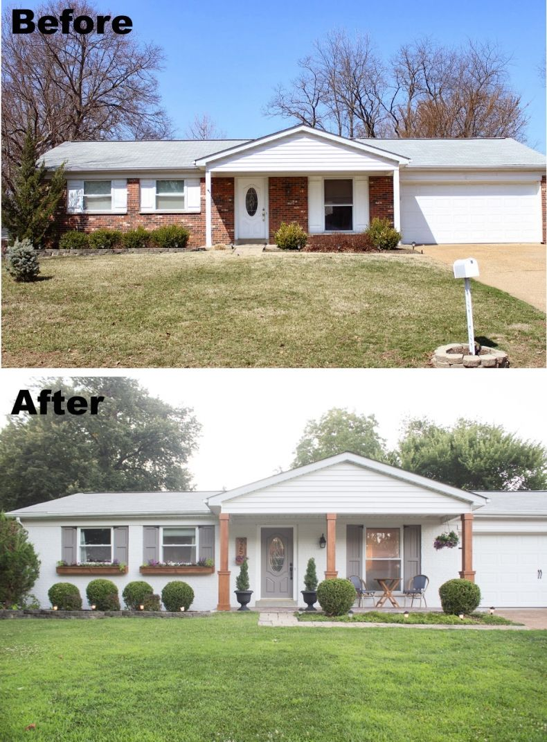 Painted Brick Home Exterior Makeover Before And After