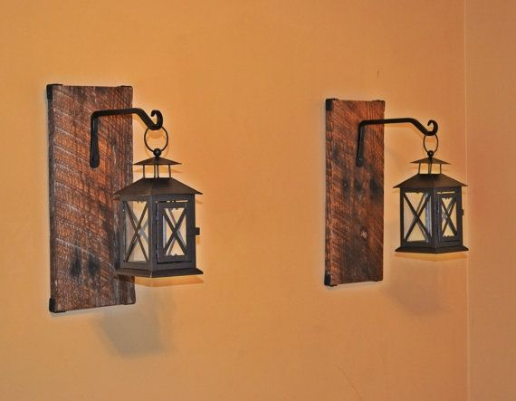 Reclaimed Wood Hanging Candle Lantern Pair Ellamurphydesigns Indoor Lantern Wall S Rustic Candle Wall Sconces Hanging Candle Lanterns Large Candle Wall Sconces