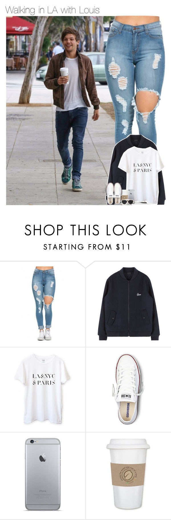 """""""Walking in LA with Louis"""" by mmbrambilla ❤ liked on Polyvore featuring Converse and Christian Dior"""