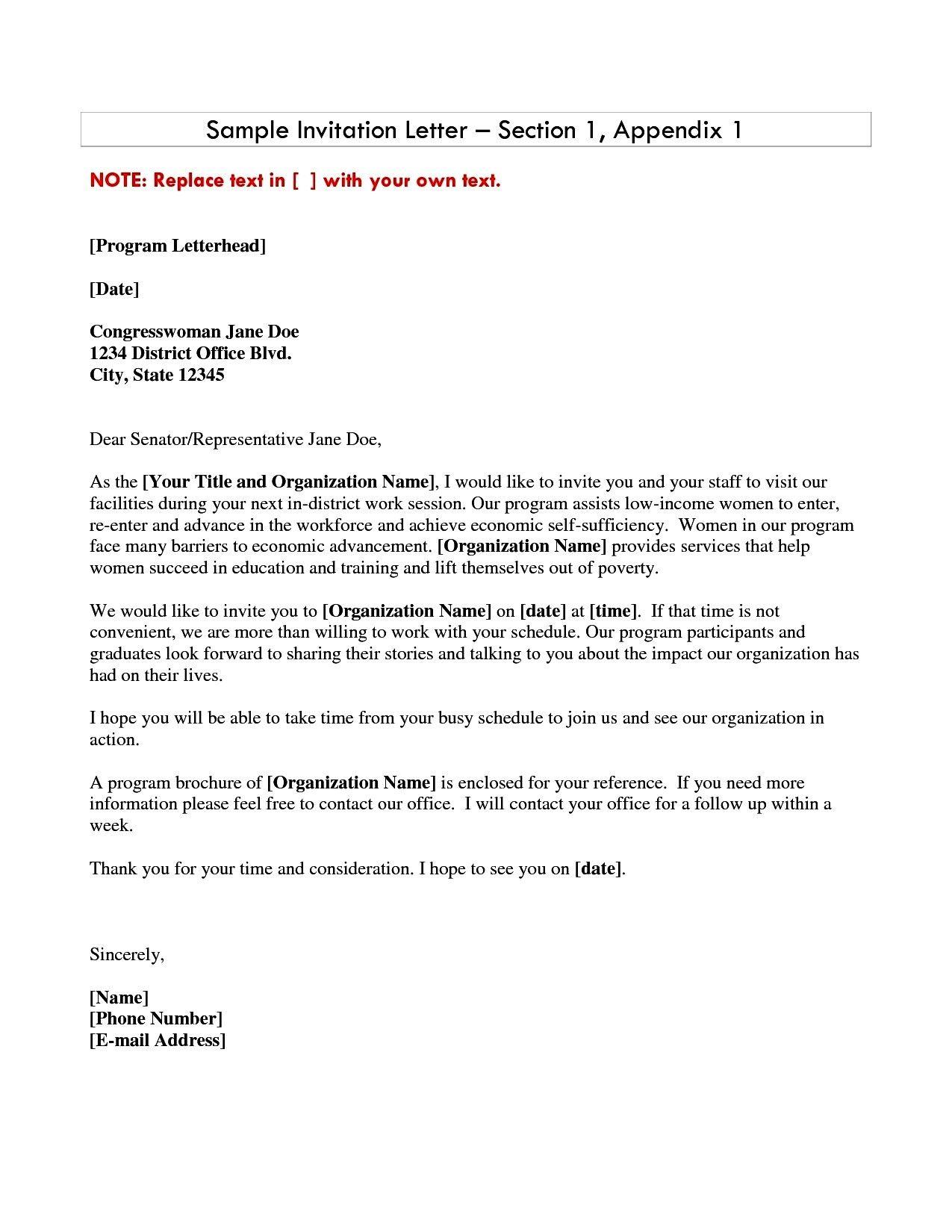 Business Invitation Letter Sample Invitations Download