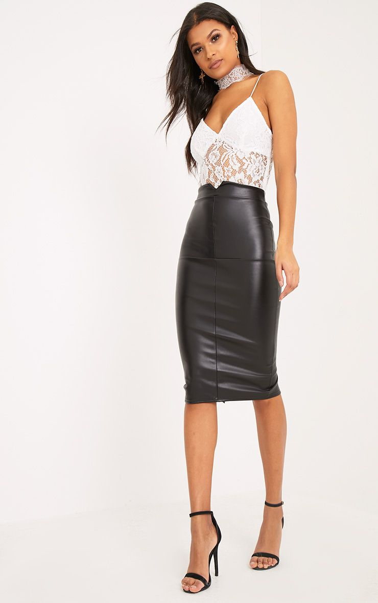 wide selection buy cheap release info on Eva Black Faux Leather Panel Midi Skirt | Dream Closet in ...