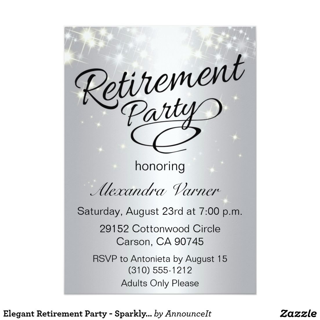 Elegant Retirement Party  Sparkly Silver X Paper Invitation