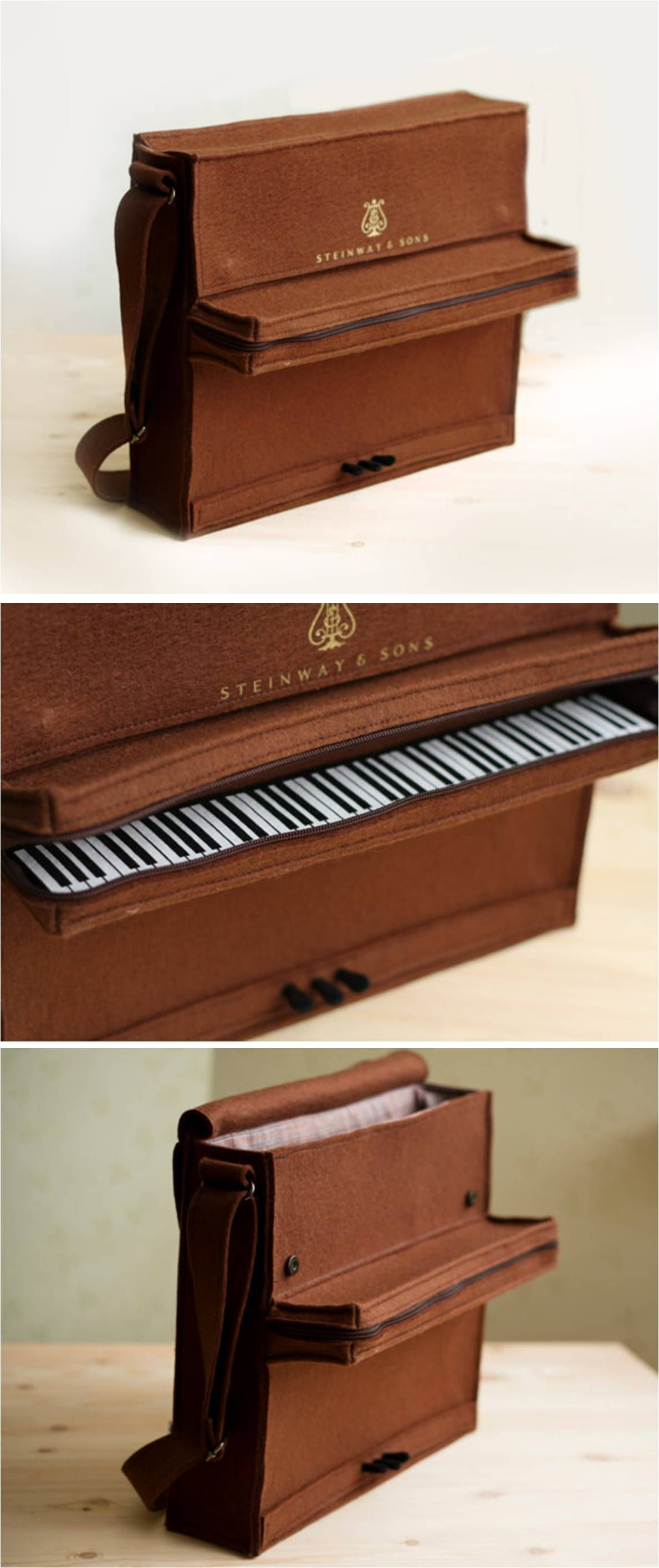 Brown Felt Piano Bag