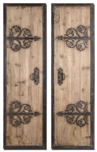 Wrought Iron 71 Rustic Wood Door Panels Wall Art Spanish Gothic Neiman Marcus Ebay