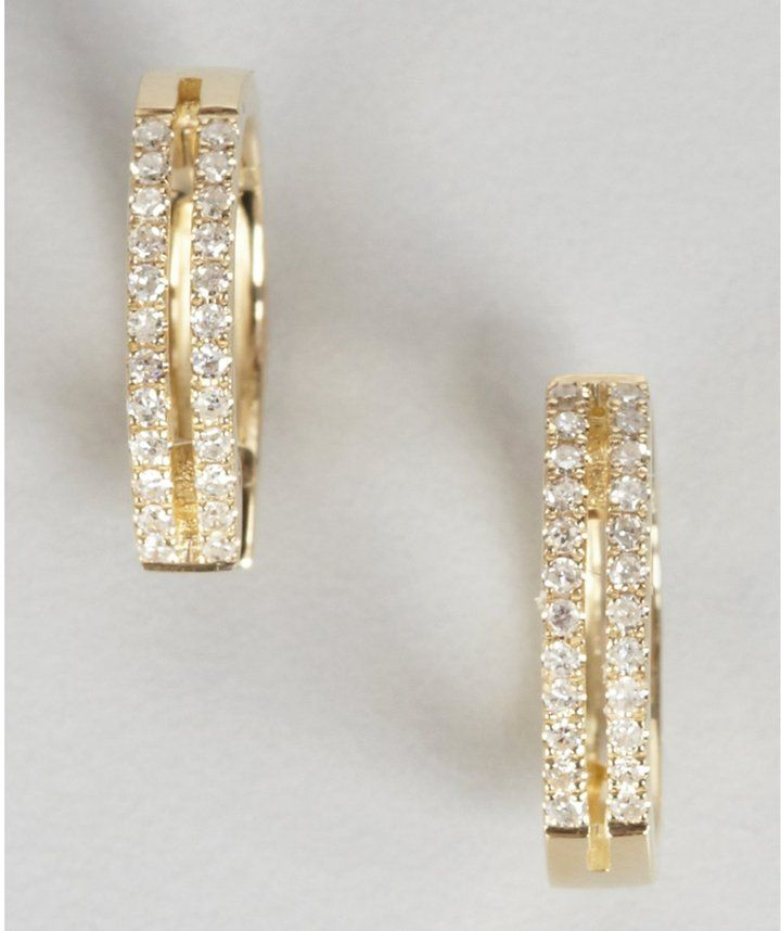 Diamond And Yellow Gold Two Bar Huggie Earrings  Built on a 45-year friendship, Lenny Krol and Joe Carullo, created Elements by KC Designs and established a line of timeless and chic pieces that will become a fast staple in your collection. ...  http://www.hotrockingbody.com/shop/diamond-earrings/diamond-and-yellow-gold-two-bar-huggie-earrings/ #womens #fashion