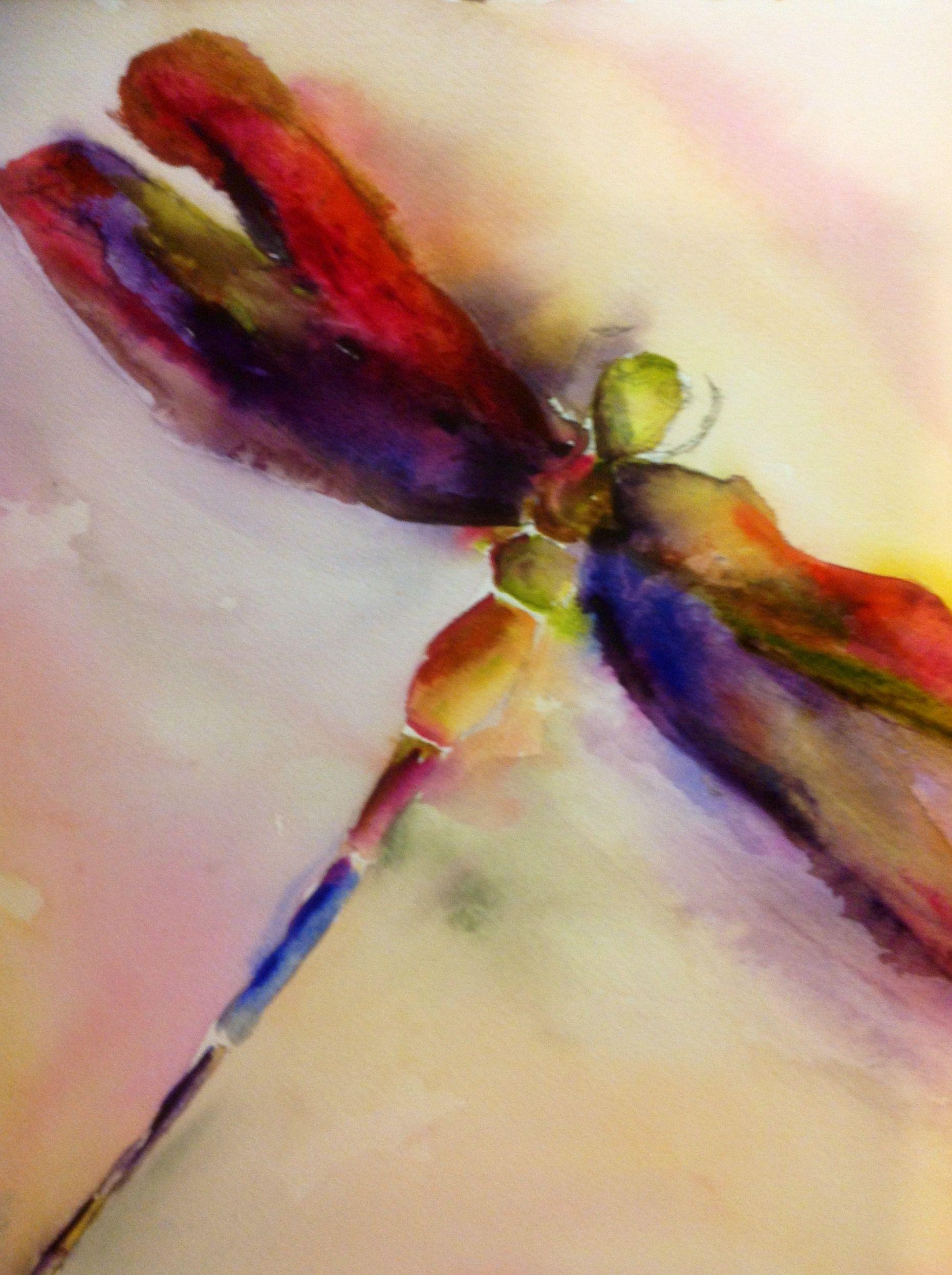 Watercolor artists in texas -  Dragonfly By Texas Watercolor Artist Karen Scherrer