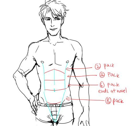 How to draw a guy with abs