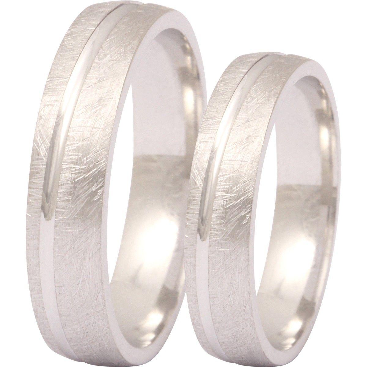 Zwei Elegante Silberringe 925 Sterling Verlobungsringe Eheringe