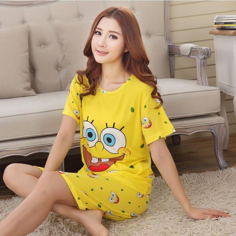 7c52b3642a Women Shirt Shorts Sleepwear 2017 Summer Pajama Set Night Suit Cute Women  Sleepwear Cheapest Korean Pajamas
