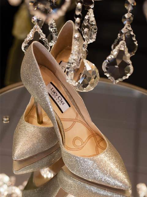 f1144c835149 Make your feet sparkle in these Gold glitter Aster court heels from Lucy  Choi London.