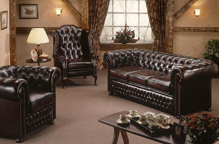Leather Chesterfield Sofa Living Room Man Cave