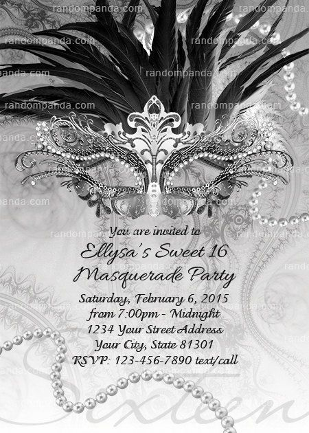Masquerade Ball Invitation Black and White Sweet 16 Party Black