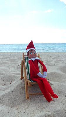 365 Days Of Wonderful Elf On The Shelf Lounging On The Beach Elf On The Shelf Elf Christmas Elf