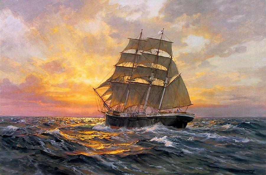 Cuadros Con Barcos Antiguos Pintados al Óleo en El Mar | Barcos ...