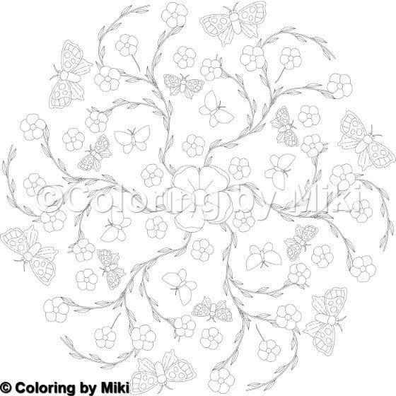 Flower Butterflies Mandala Coloring Page 5 Flowers Plants