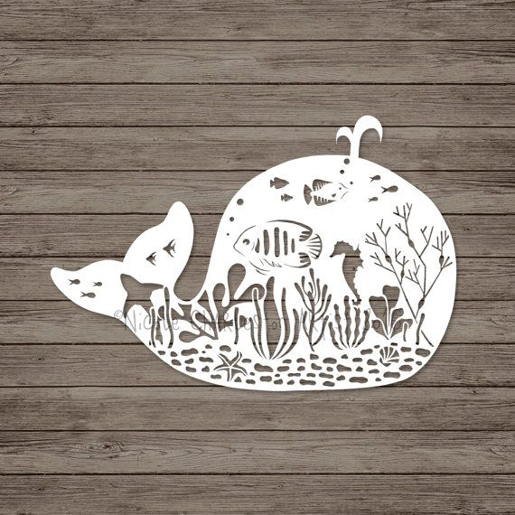 Whale Papercut Template, Underwater Papercut Template, Commercial ...
