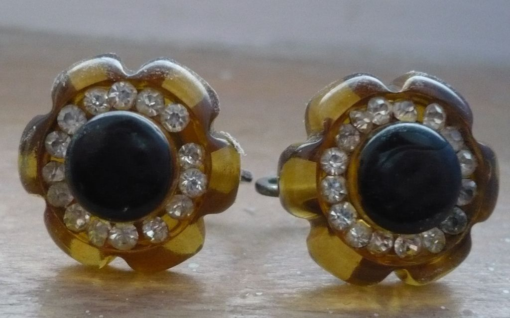 Bakelite & Rhinestone Earrings