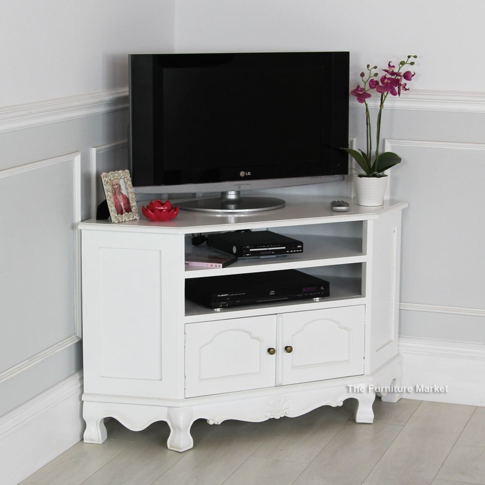 Victorian Tv Stand: French Chateau White Painted Carved Corner TV Cabinet