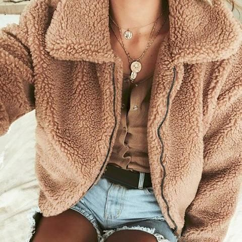 07cde44fd46 New Faux Fur Coats Jacket Women Fluffy Plus Size S-3XL Winter Shaggy  Cardigan Winter Warm Bomber Coat Zipper Outwear Open Stitch