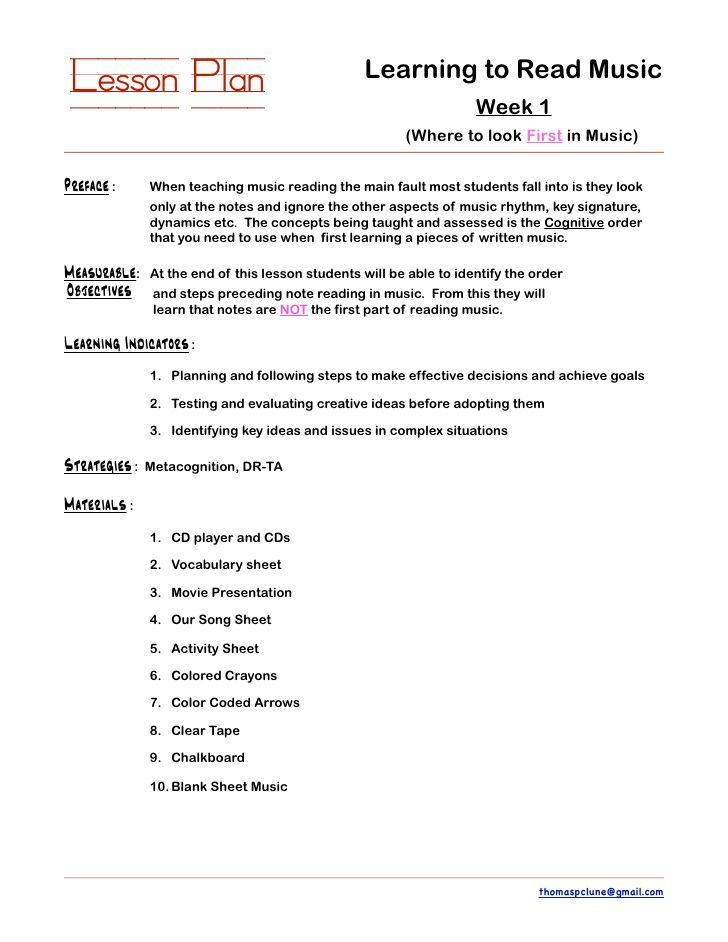Lesson Plan Learning to Read Music Lesson Planning - sample lesson plan