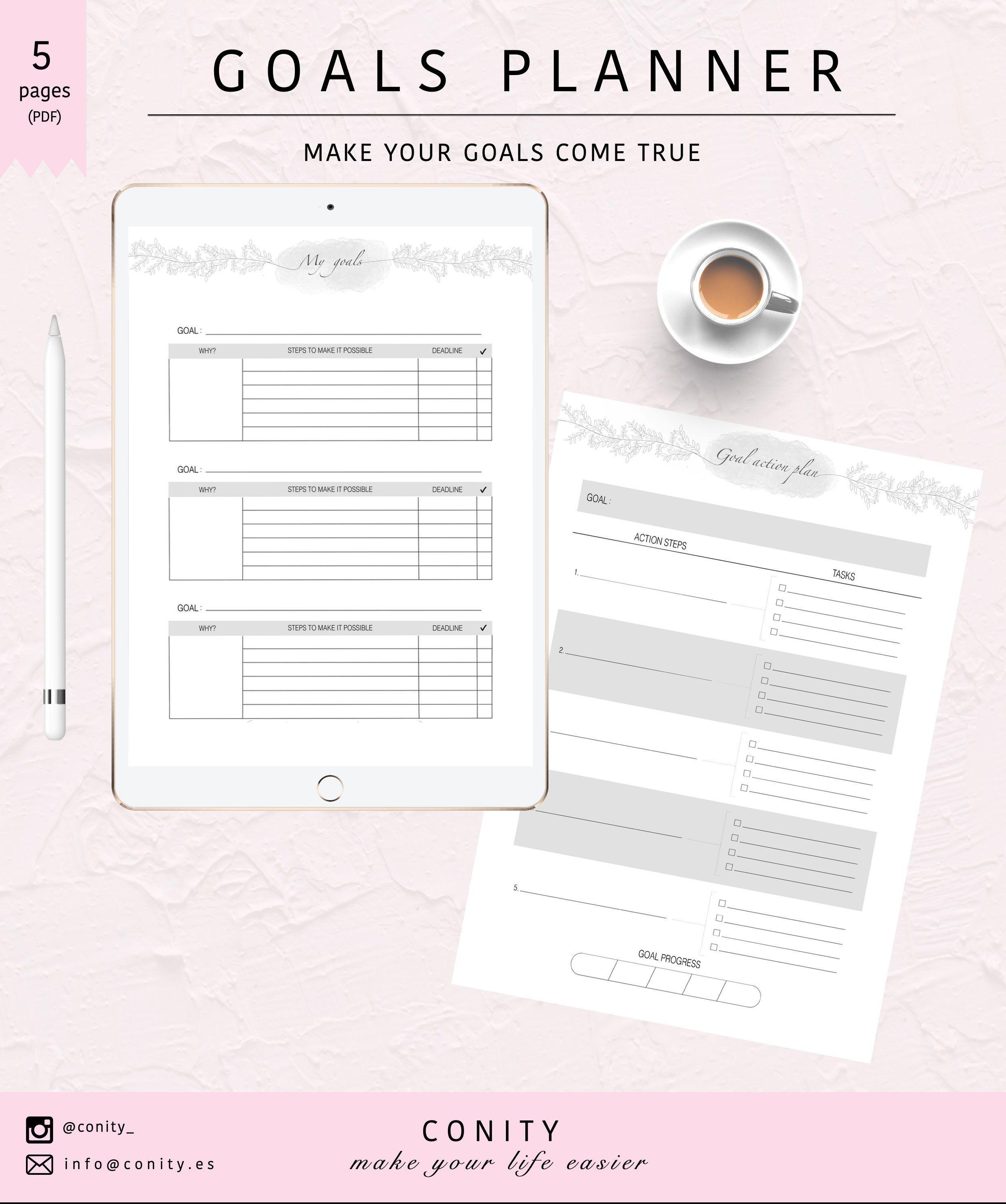 Digital Goals Planner L My Goals Goal Action Plan