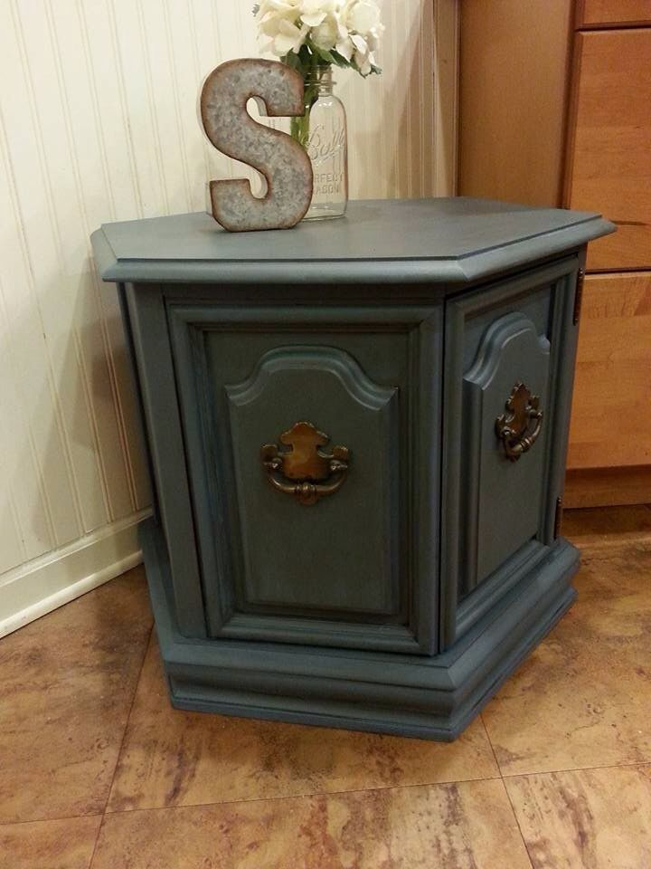 Refinished Hexagon End Table Blue Chalk Paint With Antique