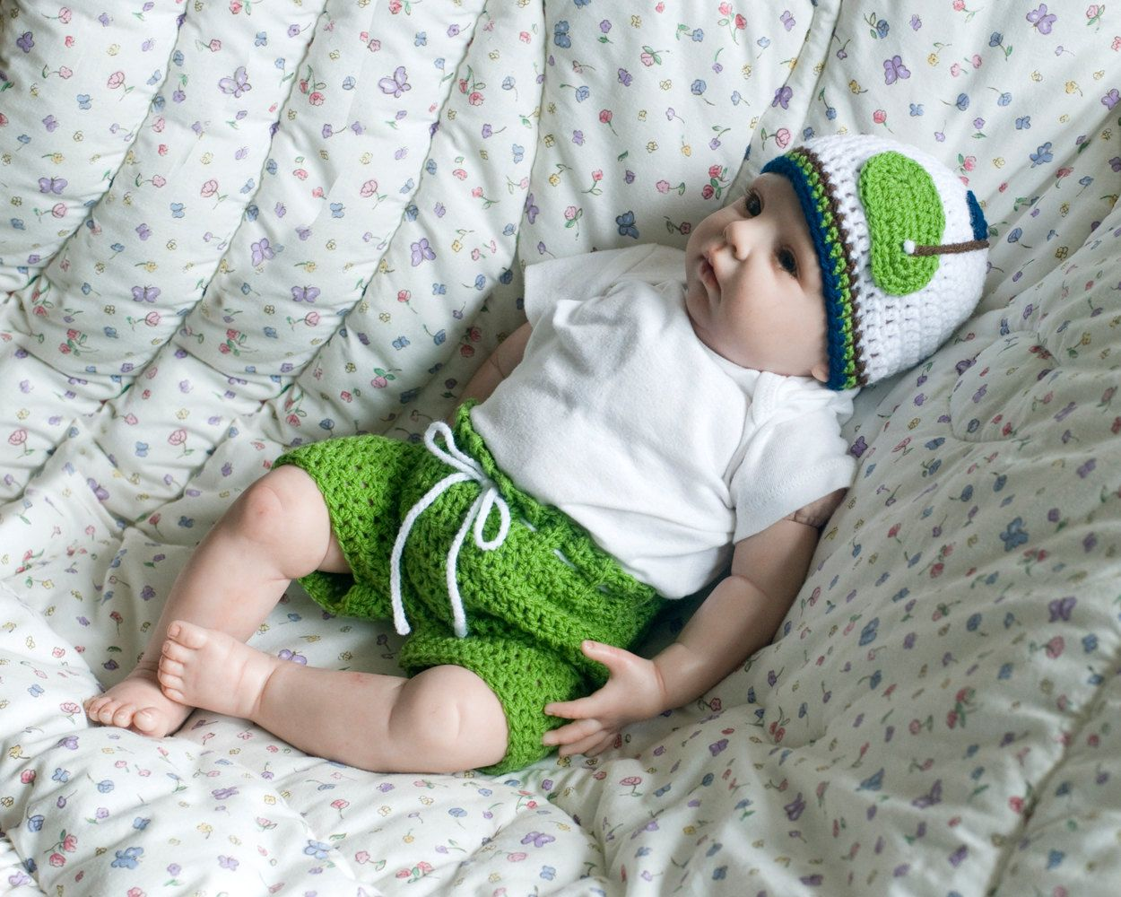 BABY GOLF Hat & Golf Shorts, Crochet Baby Golf Outfit, Crocheted ...