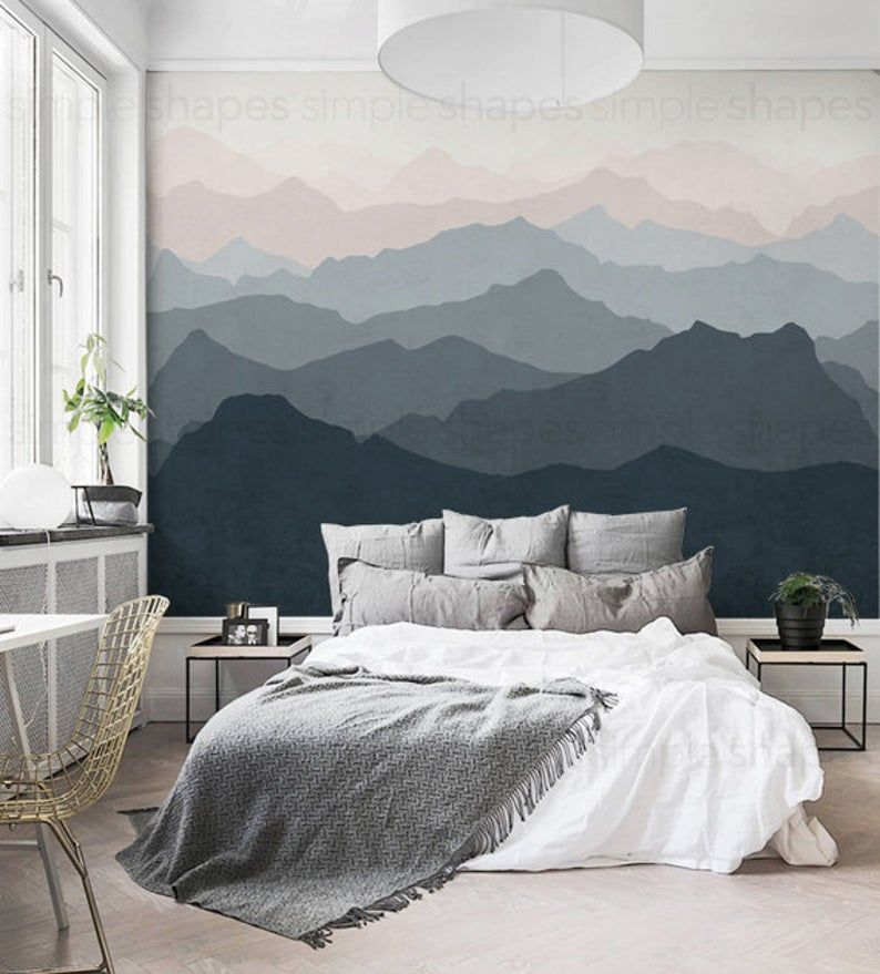 Mountain Mural Wallpaper Grayish Navy Pale Pink Mountain | Etsy