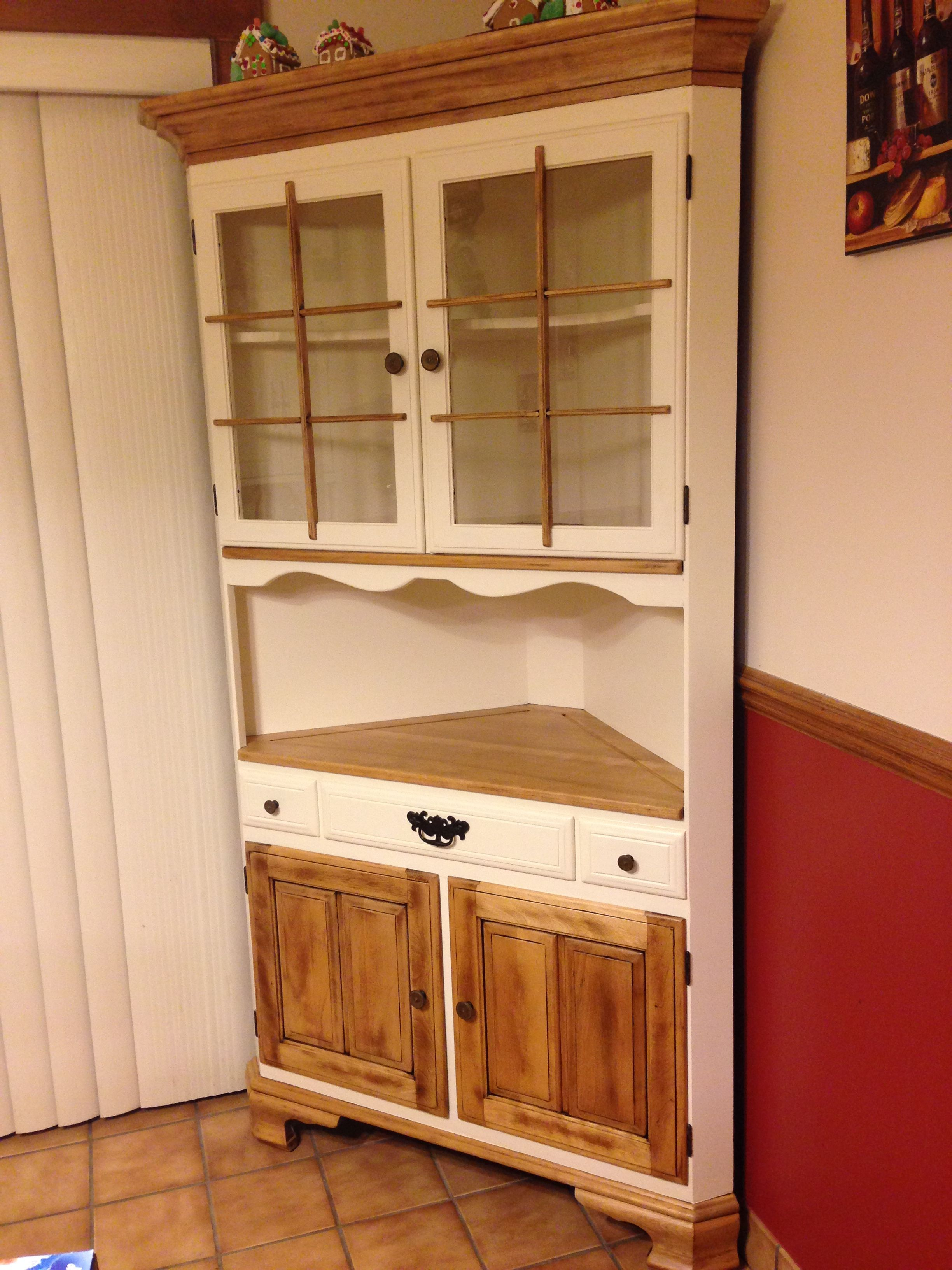 Refinished corner cabinet in cream and natural wood